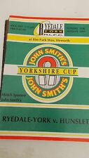 Ryedale-York v Hunslet programme 25.8..91