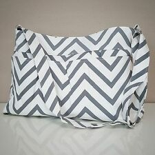 Gray Chevron Tote Bag by White Elm- Diaper Nappy Canvas Grey Zig Zag Baby Gym