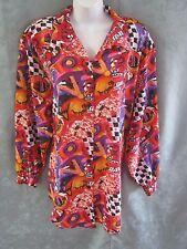 80's Impressions Bright Bold Print Blouse Plus Size 18W Vintage Size 38