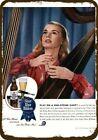 1945 PABST BLUE RIBBON BEER Vintage Look REPLICA METAL SIGN - WOMAN playing HARP