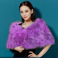 Women's Vintage Genuine Big Ostrich Fur Cape Stole Wrap Winter Collar New