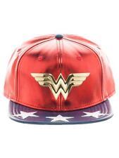 OFFICIAL DC COMICS WONDER WOMAN METAL SYMBOL RED & BLUE PU SNAPBACK CAP (NEW)