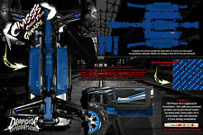 TRAXXAS E-REVO SUMMIT CHASSIS PRINTED CARBON FIBER HOP UP GRAPHICS DECALS BLUE