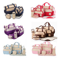 5 pcs Baby Changing Diaper Nappy Bag Mummy Mother Handbag multifunctional set