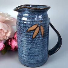 Vintage Studio Art Pottery Stoneware Pitcher/JugSigned, Blue Glaze, Wheel-thrown