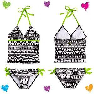 NWT Justice Girls Size 6 BLACK & WHITE PATTERN Tankini Swimsuit 2-Piece $39 Cute