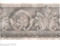 Traditional Architectural Grey Silver Acanthus Leaf Scroll Wall paper Border