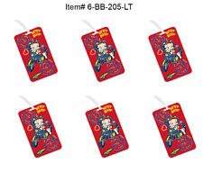 SET OF 6- Lenticular Betty Boop Luggage Tags - Red Motorcycle Flip #6-BB-205-LT#