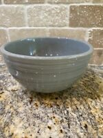 Vintage McCoy Pottery Rings Ribbed Dusty Blue Mixing Bowl USA Beehive Ovenproof