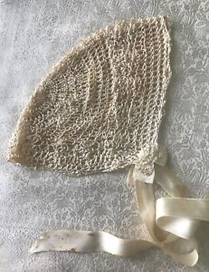 Antique Vintage Baby Bonnet Silky Ivory Rayon Hand Crochet