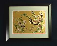 Japanese textile 金线织花的锦缎 Gold Brocade in Frame PHOENIX Nishijin 西陣織 Kyoto Silk