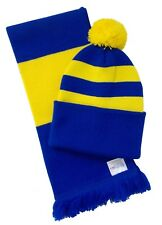 Blue and Yellow Hat and Scarf Set - Made in the UK