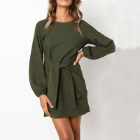 Women's Mini Dress Short Tops Dresses Autumn Long Sleeve Bind waist Dresses