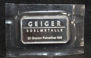 Geiger Edelmetalle 20 Gram 999 Fine Silver Bar Schloss Guldengossa