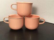 Nancy Calhuon - Light Peach - Flat Cups - THREE - 3 - Stoneware