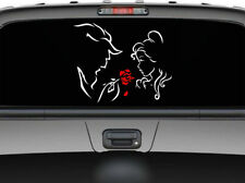 """Beauty and the Beast and the Red Rose car truck SUV decal sticker 11"""" Red/White"""
