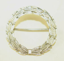 VINTAGE E.S. FEINSTEIN STERLING SILVER LAUREL LEAF WREATH CIRCLE PIN WITH BOW