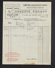 """ORLEANS (45) FOURNITURES pour PHOTOGRAPHE CINEMA PHONO """"JOSEPH Freres"""" en 1926"""
