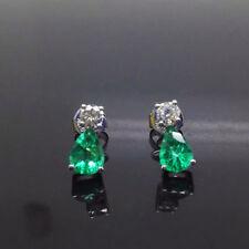 18ct White Gold Stunning Natural Emeralds and Diamonds Classic Studs £4500
