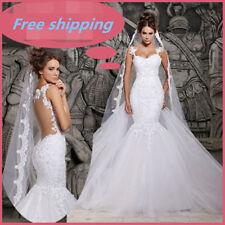 Tulle Mermaid & Trumpet Sleeve Wedding Dresses