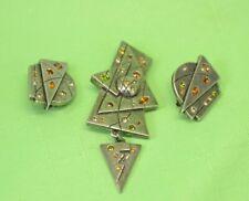 Pin Brooch Swavrovski Crystals Nwot Vintage Patricia Locke Silver Plate Earrings