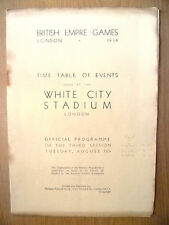 British Empire Games London 1934- OFFICIAL TIME TABLE OF EVENTS at White City