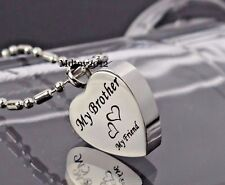 NEW My Brother My Friend Heart Cremation Jewelry keepsake Memorial Urn Necklace