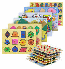 Etna Products Wooden Puzzles For Toddlers, Puzzle Rack, 6 Pack