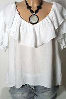 H&M Bluse Gr. 38 weiß A-Linie Kurzarm Bluse mit Volants