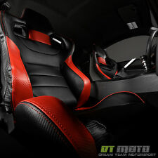 Black/Red Carbon PU Leather SCS Reclinable Racing Seat w/Slider Passenger Right