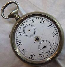 Stop Watch Chronograph Pocket Watch open face nickel chromiun case