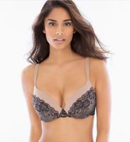 Soma Enhancing Shape Full Coverage Printed Lace Bra 34DD Tan & Black NWT $58