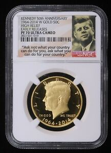 2014-W Kennedy 50th Anniversary High Relief Proof Gold Half Dollar NGC PF70 UC
