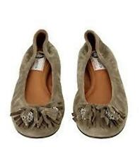 LANVIN Suede Jewel Embellished Tassel Ballerina Ballet Flats Shoes Taupe $725
