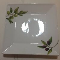 New Olive Accents by The Cellar Square 8 Salad Plates & 1 Dinner Plate (Macy's)
