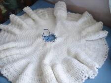Vintage Crochet Shawl Child Girls White Toddler