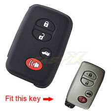 4 Buttons Black Silicone Car Key Fob Case Cover For Toyota Prius Land Cruiser
