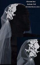 Alencon Lace Juliet Wedding Bridal Veil Waltz Length White Ivory & Asst Colors