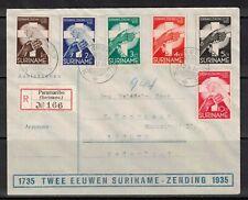 Netherlands Surinam 1935 Sc B16-21 Registered COVER to Lochem NL