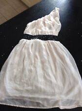 Ladies Miso Peach & Black Sheer Lined One Shoulder Dress Size 10