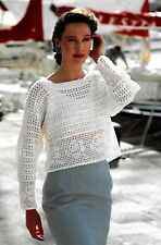 "Ladies summer long sleeved top crochet pattern 28""-40"" cotton 4ply 335"