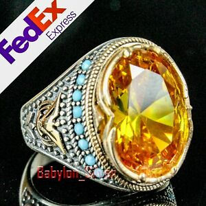 Turkish 925 Sterling Silver Yellow Citrine Stone Mens Luxury Ring All Sizes