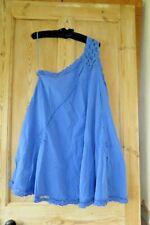 Free People Billie Battenburg One Shoulder Summer Mini Dress Sz Large Blue