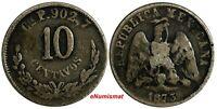 MEXICO Silver 1873 CH P 10 Centavos Mintage-8,732 Culiacan Mint RARE KM# 401.2