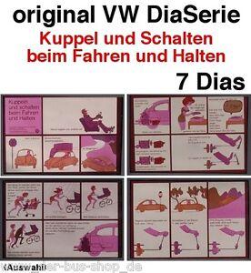 VW Dias / Dia Serie - original - ca 1970 - Kuppeln und Schalten - 7 Dias
