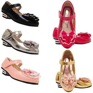 Girls Kids children glitter wedding party evening Party shoes size 7-3