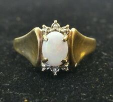 10k Gold Opal Ring with Diamond Chips
