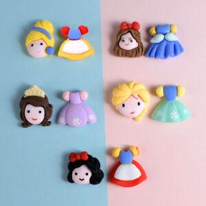 10pc (5 Pairs) Mixed Resin Cartoon Princess & Dress Flatback Buttons Decorations