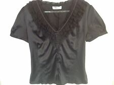 Portmans Women's Top Size 10 black shiny with buttons LOVELY