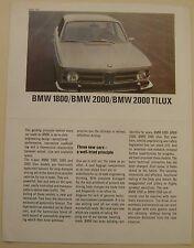 Bmw 1800 2000 & tilux saloon 1968-69 original b&w dépliant vente brochure 12370e